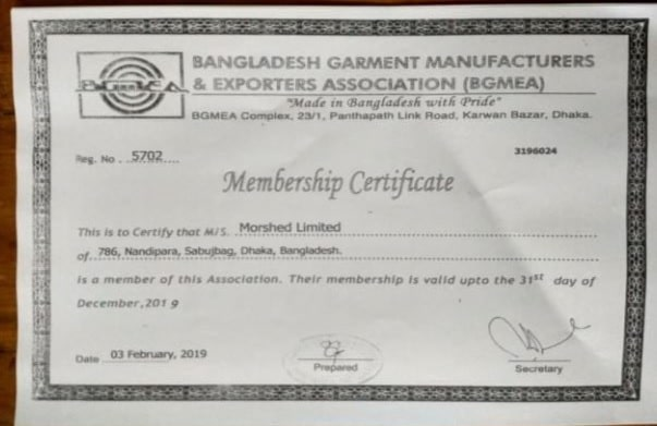 BGMEA certificates Garments A for compliance and audit