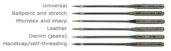 Different types of sewing needle