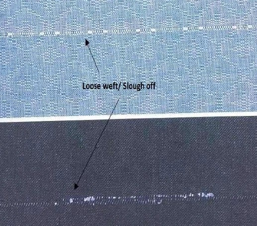 Loose weft or Slough off or Snarl defect of woven fabric