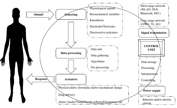 Schematic view of the working principle of an e‐health system.