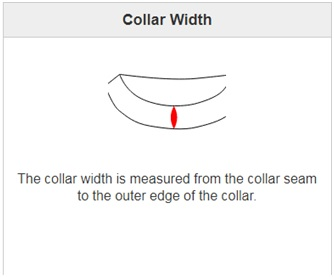 collar width is measured from the collar seam to the outer edge