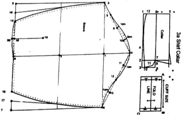 pattern of shirt collar and cuff